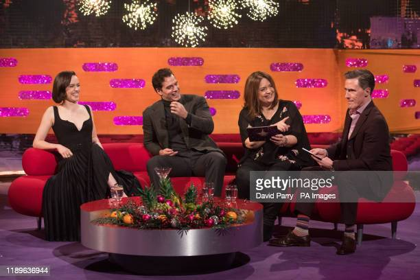 Daisy Ridley Henry Cavill Ruth Jones and Rob Brydon during the filming for the Graham Norton Show at BBC Studioworks 6 Television Centre Wood Lane...