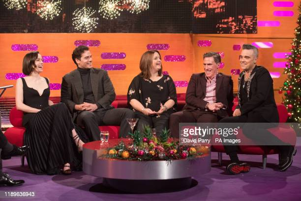 Daisy Ridley Henry Cavill Ruth Jones Rob Brydon and Robbie Williams during the filming for the Graham Norton Show at BBC Studioworks 6 Television...