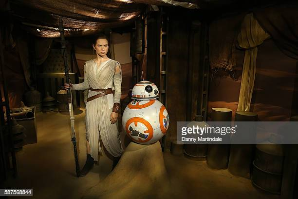Daisy Ridley is unveiled as the new wax figure character Rey from Star Wars The Force Awakens at Madame Tussauds on August 9 2016 in London England