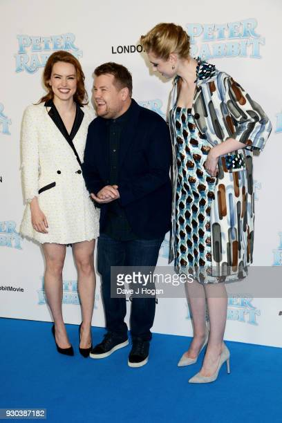 Daisy Ridley James Corden and Elizabeth Debicki attend the Peter Rabbit Gala Premiere at Vue West End on March 11 2018 in London England