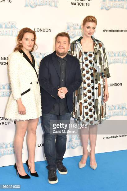 Daisy Ridley James Corden and Elizabeth Debicki attend the UK Gala Premiere of 'Peter Rabbit' at the Vue West End on March 11 2018 in London England