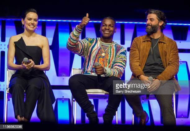 Daisy Ridley John Boyega and Oscar Isaac during the Star Wars Celebration at the Wintrust Arena on April 12 2019 in Chicago Illinois