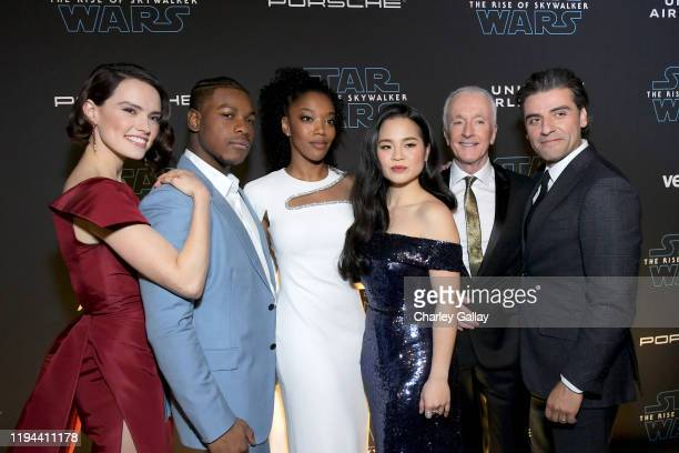 Daisy Ridley John Boyega Naomi Ackie Kelly Marie Tran Anthony Daniels and Oscar Isaac arrive for the World Premiere of Star Wars The Rise of...