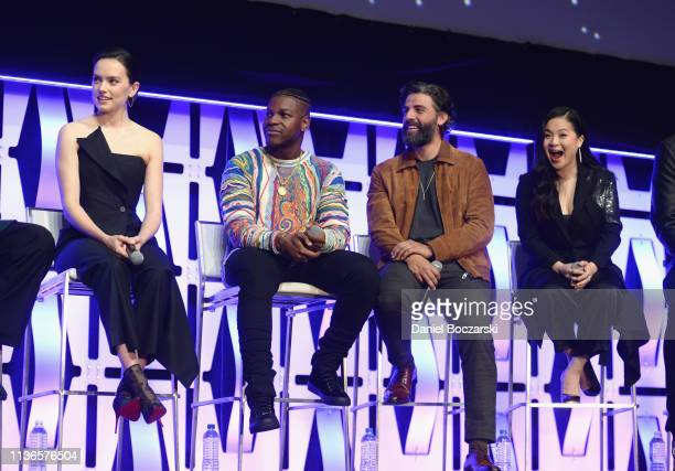 Daisy Ridley John Boyega Oscar Isaac and Kelly Marie Tran onstage during The Rise of Skywalker panel at the Star Wars Celebration at McCormick Place...
