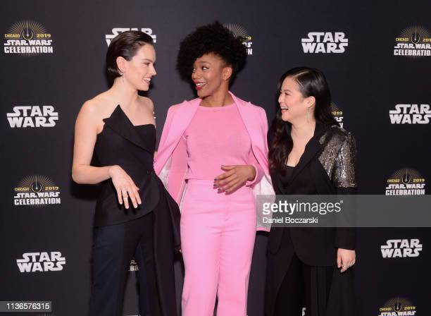 Daisy Ridley Naomi Ackie and Kelly Marie Tran attend The Rise of Skywalker panel at the Star Wars Celebration at McCormick Place Convention Center on...