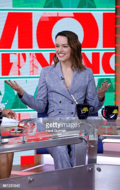 """Daisy Ridley of """"Star Wars: The Last Jedi"""" is a guest on """"Good Morning America,"""" Tuesday, November 28 airing on the Walt Disney Television via Getty..."""