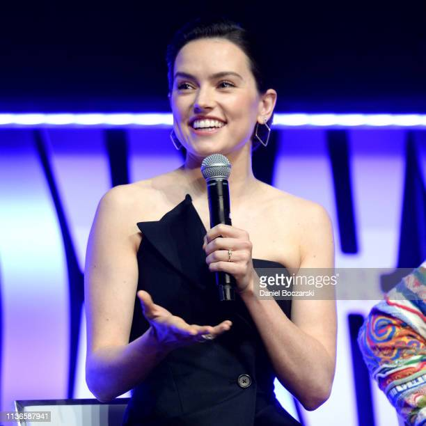 """Daisy Ridley onstage during """"The Rise of Skywalker"""" panel at the Star Wars Celebration at McCormick Place Convention Center on April 12, 2019 in..."""
