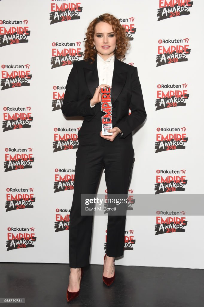 Daisy Ridley poses in the winners room at the Rakuten TV EMPIRE Awards 2018 at The Roundhouse on March 18, 2018 in London, England.