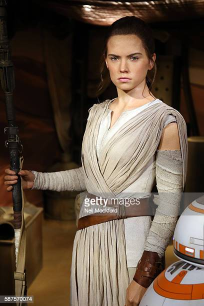 Daisy Ridley's wax figure character Rey from Star Wars The Force Awakens is unveiled at Madame Tussauds on August 9 2016 in London England