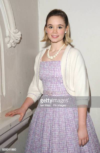 Daisy WoodDavis poses for pictures at photocall to launch new musical Dreamboats and Petticoats at St Marks Church in Marylebone London