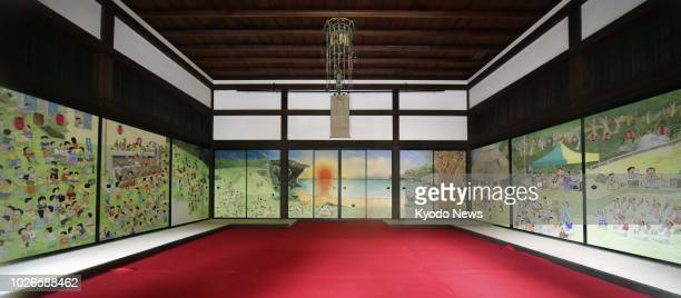 Daitokuji a Buddhist temple in Kyoto shows newlycompleted paintings on fusuma sliding paper doors to the press on Aug 23 2018 The paintings created...