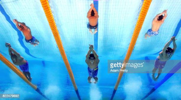 Daiya Seto of Japan and Masato Sakai of Japan compete during the Men's 200m Butterfly semi final on day twelve of the Budapest 2017 FINA World...