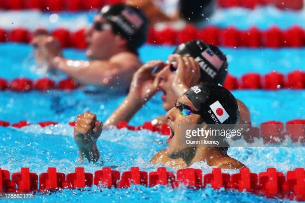 Daiya Seto of Japan celebrates winning the Swimming Men's Medley 400m Final on day sixteen of the 15th FINA World Championships at Palau Sant Jordi...