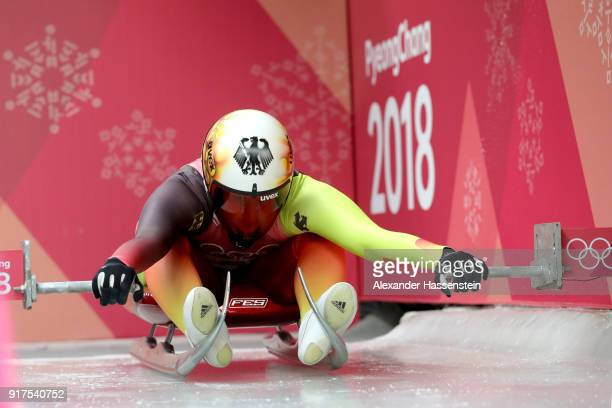 Daja Eitberger of Germany slides during the Women's Singles Luge run 1 at Olympic Sliding Centre on February 12, 2018 in Pyeongchang-gun, South Korea.