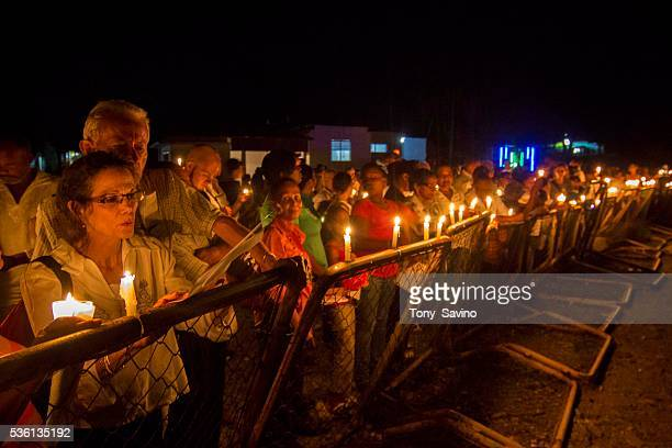 Dajabon Dominican Republic 4 October 2012 Border of Lights DominicanAmerican writer Julia Alvarez left is among some 200 persons at a candlelight...
