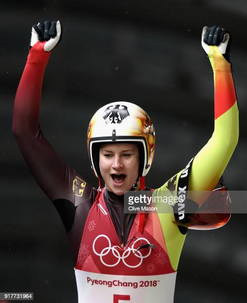 Dajana Eitberger of Germany reacts after finishing second during the Luge Women's Singles on day four of the PyeongChang 2018 Winter Olympic Games at...