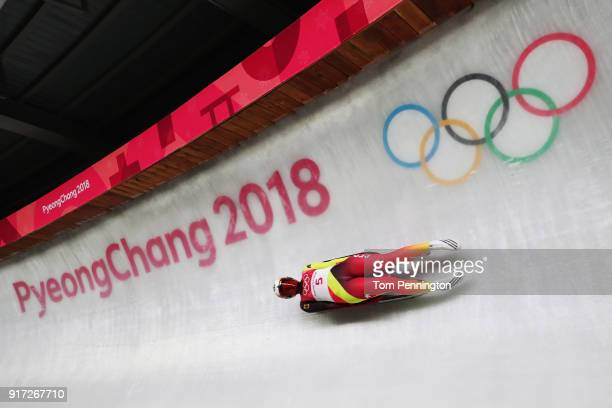 Dajana Eitberger of Germany slides in the Women's Singles Luge run 1 at Olympic Sliding Centre on February 12, 2018 in Pyeongchang-gun, South Korea.