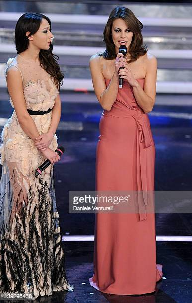 Dajana Roncione and Bianca Guaccero attend the closing night of the 62th Sanremo Song Festival at the Ariston Theatre on February 18 2012 in Sanremo...