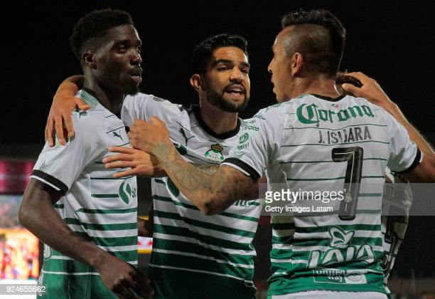 Dajaniy Tavares of Santos celebrates with teammates after scoring the second goal of his team during the 9th round match between Santos Laguna and...