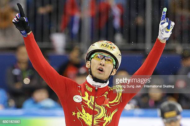 Dajing Wu of China celebrates after winning the Men 500m Finals during the ISU World Cup Short Track 2016 on December 18, 2016 in Gangneung, South...