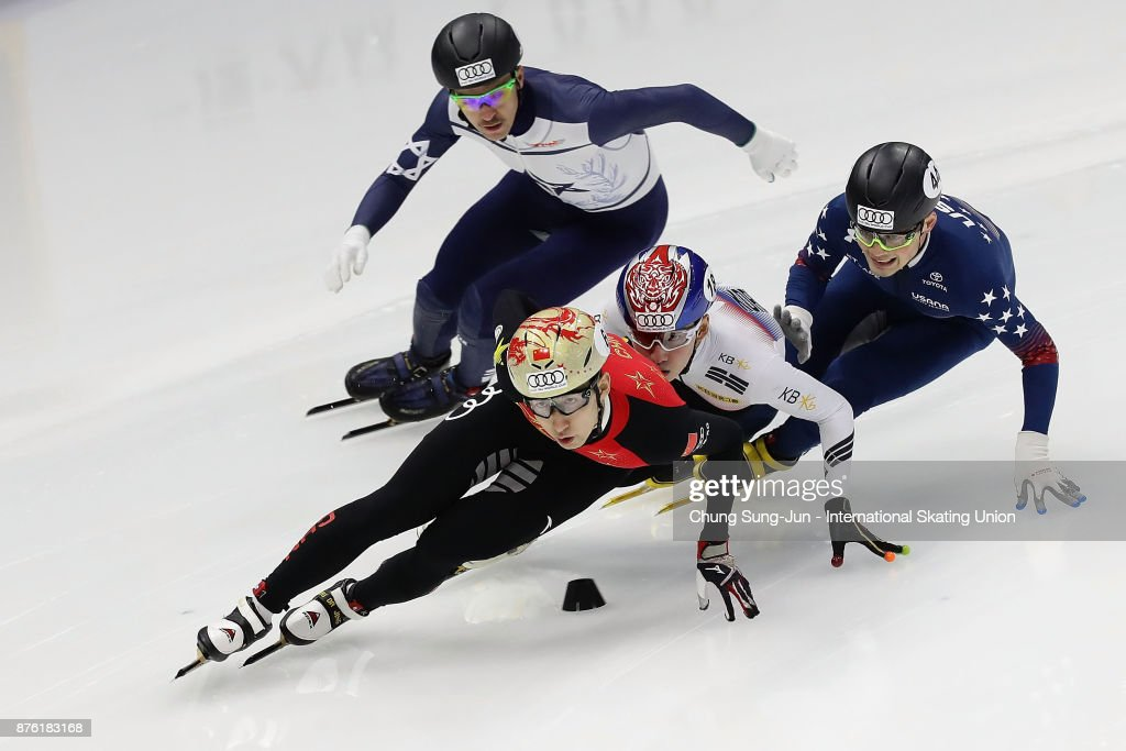 Dajing Wu of China, Lim Hyo-Jun of South Korea and John Henry Krueger of United States compete in the Men 1000m Quarterfinals during during the Audi ISU World Cup Short Track Speed Skating at Mokdong Ice Rink on November 19, 2017 in Seoul, South Korea.