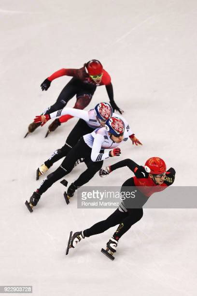 Dajing Wu of China skates on his way to winning gold in the Men's 500m Short Track Speed Skating Final A on day thirteen of the PyeongChang 2018...