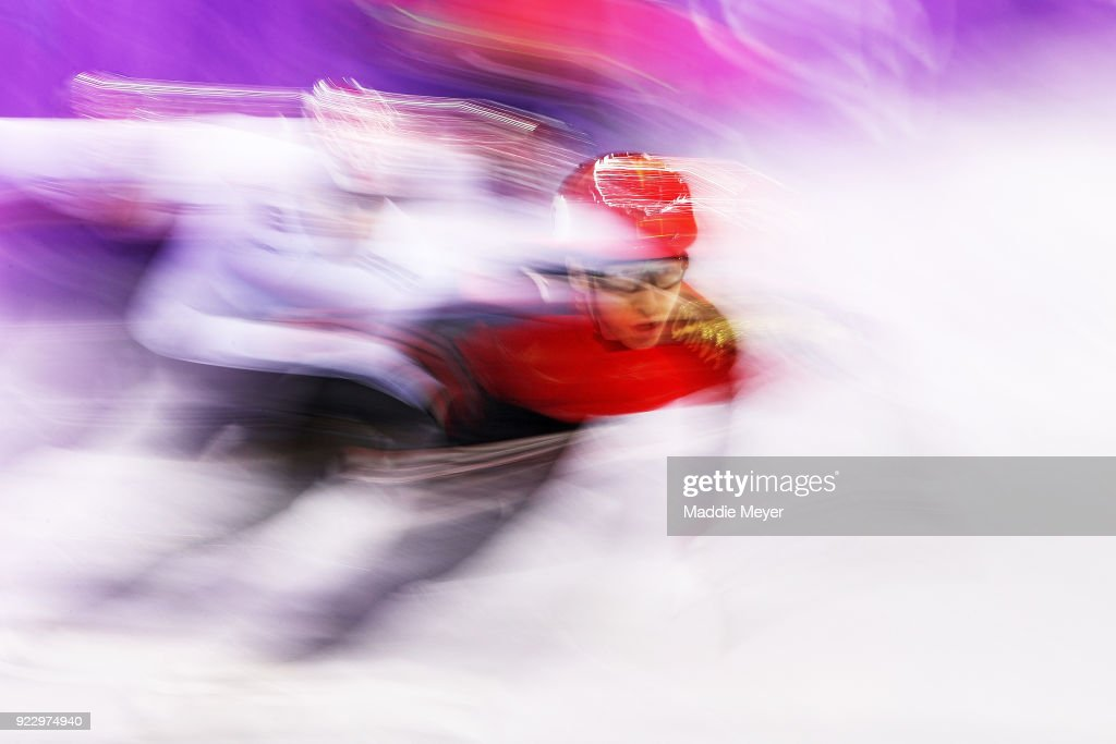 Dajing Wu of China skates on his way to winning gold in the Men's 500m Short Track Speed Skating Final on day thirteen of the PyeongChang 2018 Winter Olympic Games at Gangneung Ice Arena on February 22, 2018 in Gangneung, South Korea.