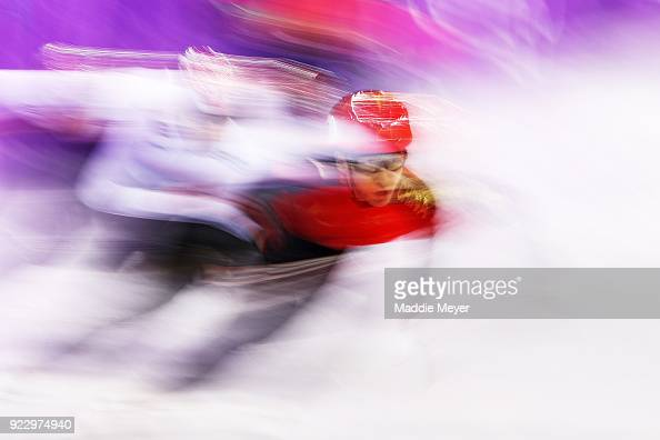 Dajing Wu of China skates on his way to winning gold in the Men's 500m Short Track Speed Skating Final on day thirteen of the PyeongChang 2018 Winter...