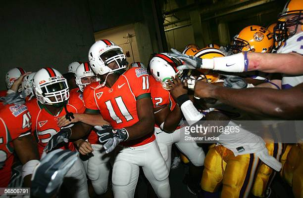 DajLeon Farr of the Miami Hurricanes and teammates fight with the LSU Tigers in the tunnel after the ChickfilA Peach Bowl on December 30 2005 at the...