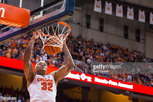 DaJuan Coleman of the Syracuse Orange dunks the ball during the second half against the Lehigh Mountain Hawks on November 13, 2015 at The Carrier...