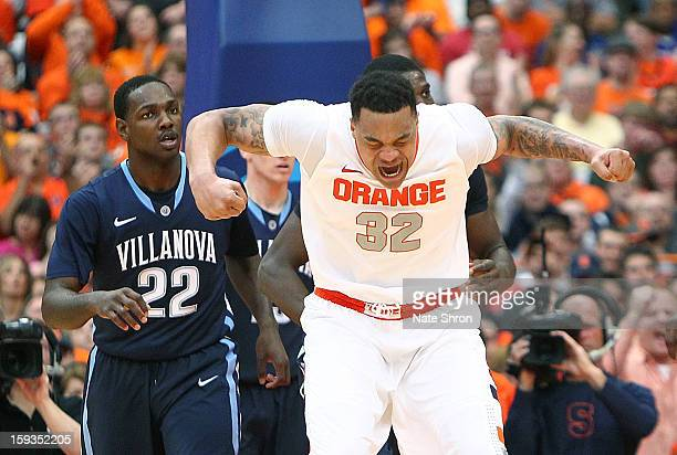 DaJuan Coleman of the Syracuse Orange reacts after a play during their win over the Villanova Wildcats during the game at the Carrier Dome on January...