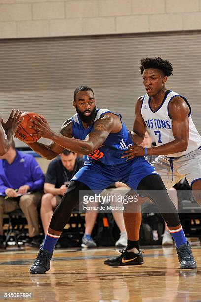 DaJuan Summers of New York Knicks handles the ball against the Detroit Pistons on July 2 2016 at the Amway Center in Orlando Florida NOTE TO USER...