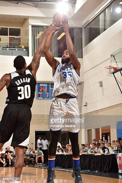 DaJuan Summers of New York Knicks shoots the ball against the Magic White on July 6 2016 during Summer League at the Amway Center in Orlando Florida...