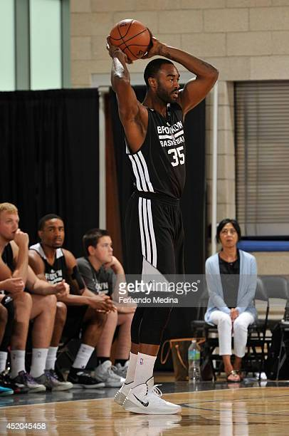 DaJuan Summers of the Brooklyn Nets looks to pass the ball against the Houston Rockets during the game during the Samsung NBA Summer League 2014 on...