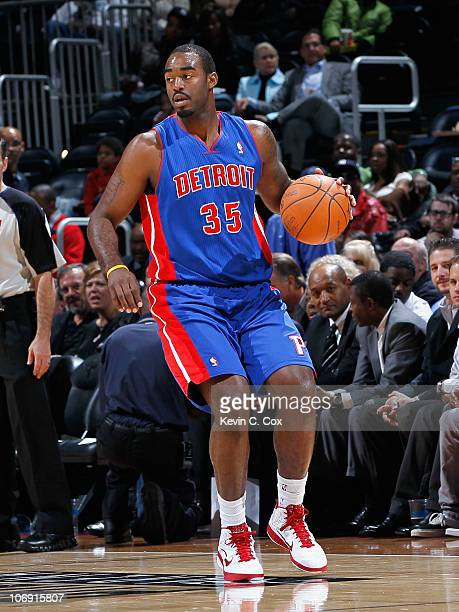 DaJuan Summers of the Detroit Pistons against the Atlanta Hawks at Philips Arena on November 3 2010 in Atlanta Georgia NOTE TO USER User expressly...