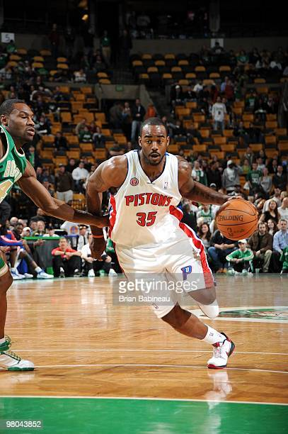 DaJuan Summers of the Detroit Pistons drives to the basket against Tony Allen of the Boston Celtics during the game at The TD Garden on March 15 2010...