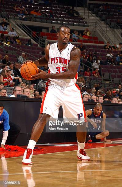 DaJuan Summers of the Detroit Pistons handles the ball against the Atlanta Hawks during the preseason game on October 11 2010 at The Palace of Auburn...