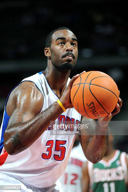 DaJuan Summers of the Detroit Pistons shoots a free throw against the Milwaukee Bucks on October 8 2010 at the Palace of Auburn Hills in Auburn Hills...