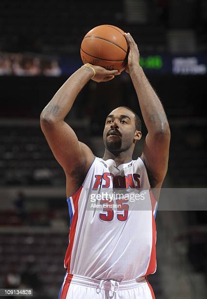 DaJuan Summers of the Detroit Pistons shoots a free throw during a game against the Atlanta Hawks on February 14 2011 at The Palace of Auburn Hills...
