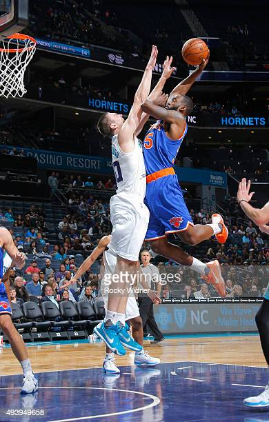 DaJuan Summers of the New York Knicks goes up for the shot against Tyler Hansbrough of the Charlotte Hornets on October 17 2015 at Time Warner Cable...