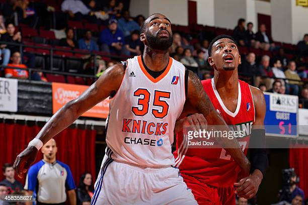 DaJuan Summers of the Westchester Knicks boxes out Karrington Ward of the Maine Red Claws at the Westchester County Center on November 12 2015 in...