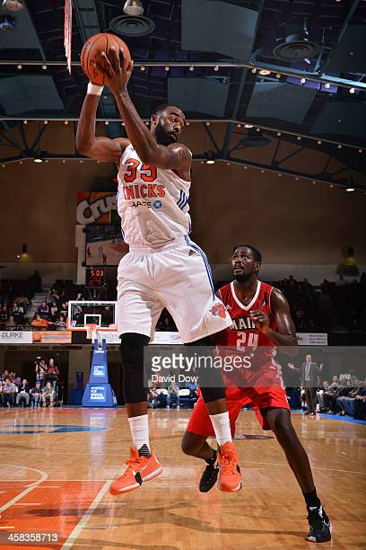 DaJuan Summers of the Westchester Knicks grabs a rebound against the Maine Red Claws at the Westchester County Center on November 12 2015 in...