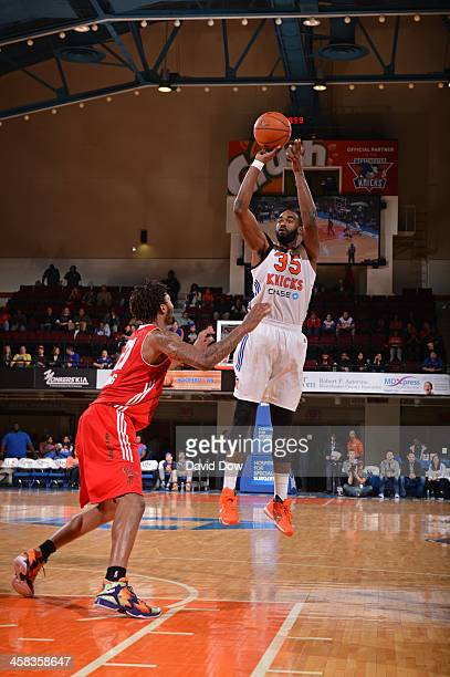 DaJuan Summers of the Westchester Knicks shoots the ball against the Maine Red Claws at the Westchester County Center on November 12 2015 in...