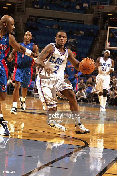 Dajuan Wagner of the Cleveland Cavaliers drives to the basket during the NBA game against the Detroit Pistons at Gund Arena on December 18 2002 in...