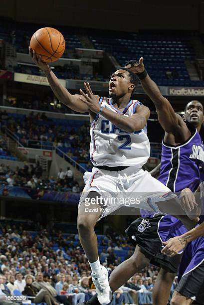 Dajuan Wagner of the Cleveland Cavaliers goes up for the layup during the NBA game against the Sacramento Kings at Gund Arena on November 26 2002 in...