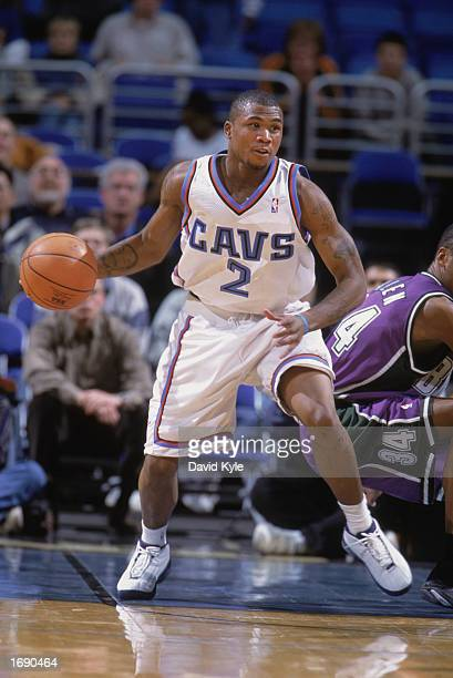 Dajuan Wagner of the Cleveland Cavaliers manuevers the ball during the NBA game against the Milwaukee Bucks at Gund Arena on December 9 2002 in...