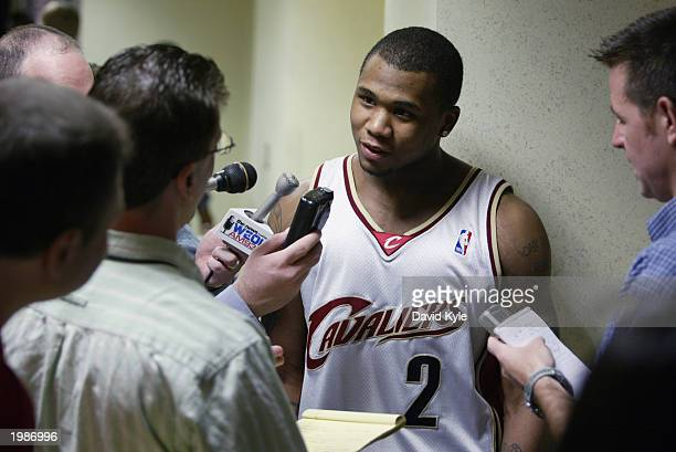 Dajuan Wagner of the Cleveland Cavaliers talks to the media during the introduction of the new Cleveland Cavaliers logo and uniforms at Gund Arena on...