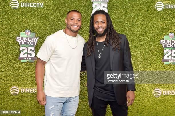 Dak Prescott and Richard Sherman attend DIRECTV CELEBRATES 25th Season of NFL SUNDAY TICKET at Nomad Hotel Los Angeles on July 17 2018 in Los Angeles...