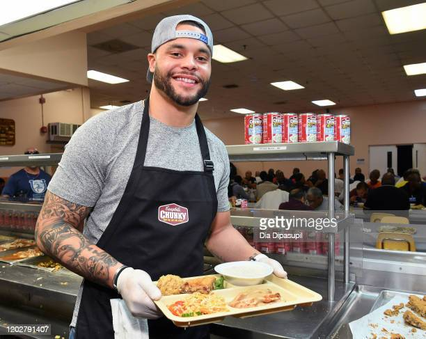 Dak Prescott attends the Dallas Cowboys' Dak Prescott Campbell's Chunky Soup Donate 100000 Bowls of Soup to Miami Homeless Shelter on January 29 2020...