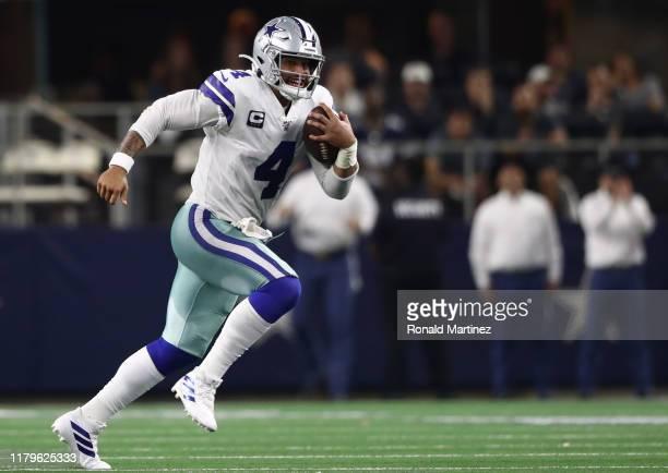 Dak Prescott of the Dallas Cowboys at ATT Stadium on October 06 2019 in Arlington Texas